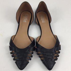 Black woven pointy toe Slip On Flats black 9.5
